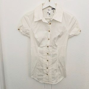 NEW Guess Short Sleeve Lace Up Back Blouse
